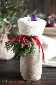 Sew a Wine bottle holder from 'sherpa' fabric for a cosy winter holiday offering. Winter Holiday, Christmas Holidays, Christmas Ideas, Christmas Crafts, Sewing Tips, Sewing Ideas, Sewing Projects, Packaging Ideas, Gift Packaging