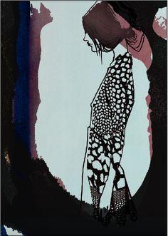 Sophie, Black and White, Fashionillustration Kerstin Kubalek