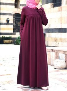This jersey abaya is the ideal solution when you want to look classically beautiful with a burst of the unique. The sweeping length and round neckline allow for Abaya Fashion, Modest Fashion, Fashion Clothes, Fashion Dresses, Fashion Fashion, Fashion Design, Muslim Women Fashion, Islamic Fashion, Modest Dresses