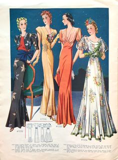 1938 evening gowns from Record sewing patterns