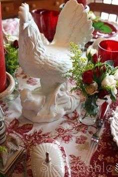Red and White Toile Christmas Table - French Country Red Cottage, French Country Cottage, French Country Style, Country Chic, French Decor, French Country Decorating, Looks Country, Vibeke Design, Autumn Table