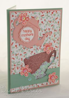 Feminine / Mother's Day shaker card made using Stampin Up Cup & Kettle dies / A Nice Cuppa Bundle. By Di Barnes #colourmehappy 2016 Occasions Catalogue