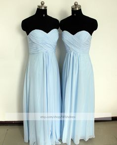 Strapless Sweetheart Light Sky Blue Bridesmaid Dress/ Ruched Long Bridesmaid Dress/ Wedding Party Dress/ Floor Length Mismatch Dress on Etsy, $109.00