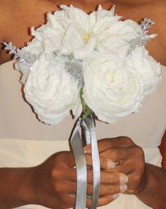 Silk Bridal Bouquet White Ponsettia white by SilkFlowersByJean, $50.00
