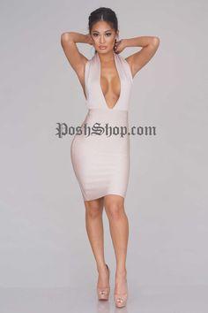 Mia Bandage Dress - Nude - Bandage Dress - Clothing