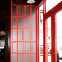 Silver & Red Squares on Restaurant Wall | Modern Masters Metallic Paint | Project by Jeremy Stanger