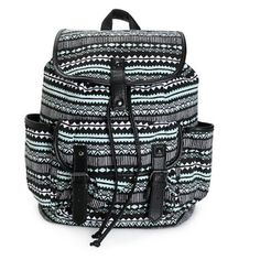 "Mint and Black Print w Black Trim Backpack. NWT. Mint and black tribal print canvas with black synthetic leather trim. Taffeta lining with cinch top and magnetic snap closures. Lightly padded adjustable shoulder straps and top handle loop. 14""H x 15""W x 6""D. 60% cotton, 40% polyester. NWT. Inside has a zippered pocket for your phone and keys. Outside pocket 7""H x 9""W x 2""D. Bags Backpacks"