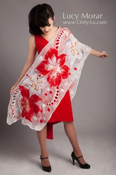 Lilies Red and White / Nuno Felt Art Scarf by Lucy Morar
