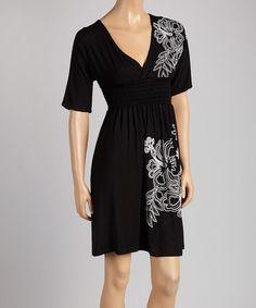 Another great find on #zulily! Black & White Floral Shirred Dress #zulilyfinds