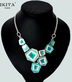 Luxus Statement Kette Halskette IKITA Paris Mosaik Emaille Glas Blau Türkis
