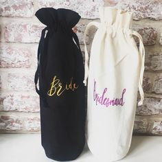 A personal favourite from my Etsy shop https://www.etsy.com/uk/listing/476611507/wine-bottle-bag-bridemasid-gift-wedding