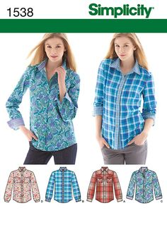 Simplicity Creative Group - Misses' Button Front Shirt: