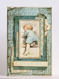 Blue Vintage Little Darlings card by Nataliya Serova. This combo of blues warms our heart! #graphic45 #cards