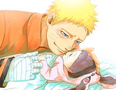 Naruto and baby Himawari This is so stinkin adorable!!!
