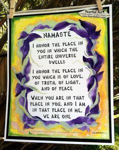 Inspirational Print NAMASTE 11x14 Poster YOGA Meditation Spiritual Words Heartful Art by Raphaella Vaisseau. $18.00, via Etsy.