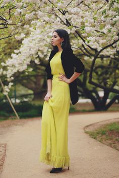 maxidress with black blazer