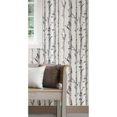 "WallPops! Birch Tree Peel and Stick 18' x 20.5"" Scenic Wallpaper"
