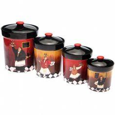 Dinnerware, Bistro Chef Canisters - set of 4 - jcpenney Fat Chef Kitchen Decor, Kitchen Themes, Country Kitchen, Kitchen Dining, Kitchen Ideas, Kitchen Stuff, Kitchen Art, Bar Kitchen, Kitchen Gadgets