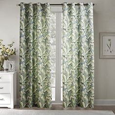 Chadmade 52Wx72L Inch Print Faux Linen Lined Curtain Pane...…