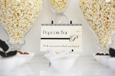 popcorn bar {perfect for an oscar viewing party}