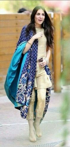 I like the idea of a neutral/pastel color Salwar-suit with heavy (colorful) work Dupatta!