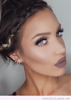 Nude make-up for blue eyes, braid and cool earrings