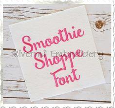 Smoothie Shoppe Machine Embroidery Font Alphabet
