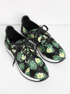 Flower Print Wide Fit Lace Up Trainers