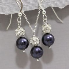 CUSTOM COLOR, Dark Purple Pearl Bridesmaid Necklace and Earring Set, Bridesmaid Gift, Bridesmaid Jewelry Set, Maid of Honor Gift