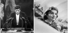 Sen. John F. Kennedy speaks at the National Democratic Convention in 1956, while his wife, Jackie, looks on.