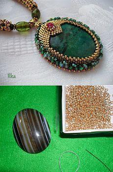 Оплетение кабошона  - пошаговой фото - видео| ЛЕС БИСЕРА lesbisera.ru Beaded Bracelets, Jewelry, Fashion, Jewlery, Moda, Jewels, La Mode, Jewerly, Fasion