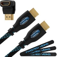 Twisted Veins (25 Ft) High Speed Hdmi Cable + Right Angle Adapter And Velcro Cable Ties (Latest Version Supports Ethernet, 3D, And Audio Return), 2015 Amazon Top Rated Video #CE
