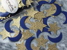 Gold Star and Moon Confetti – Tall – Celestial Party – Baby Shower Decorations – Twinkle Twinkle Little Star – Galaxy World Star Baby Showers, Baby Shower Parties, Baby Shower Themes, Baby Boy Shower, Ramadan Crafts, Ramadan Decorations, Moldes Para Baby Shower, Gender Reveal Party Decorations, Baby Shower Decorations