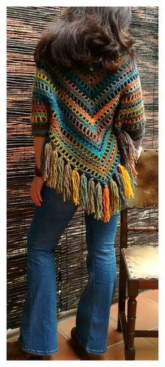 new Ideas crochet scarf granny square stitches Crochet Bolero, Cardigan Au Crochet, Pull Crochet, Mode Crochet, Crochet Poncho Patterns, Crochet Shawls And Wraps, Crochet Jacket, Crochet Scarves, Crochet Clothes