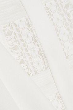 Oscar de la Renta - Lace-trimmed Silk Blouse - Ivory - US10