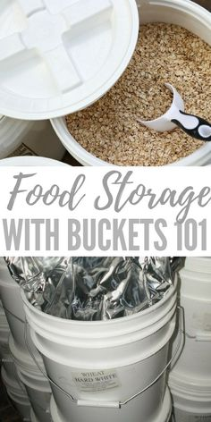 food storage Food Storage With Buckets 101 - Something that anyone who is serious about getting food storage needs to think about, because if youre investing your time and money into food, you want to make sure youre storing it properly. Emergency Preparedness Food, Prepper Food, Emergency Food Storage, Canned Food Storage, Emergency Preparation, Emergency Supplies, Bulk Food Storage Containers, Survival Supplies, Food Storage Recipes
