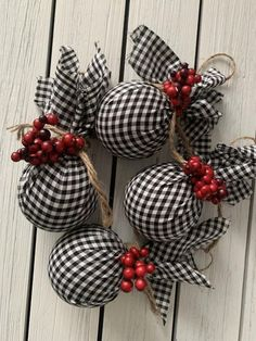 Fabric Christmas Ornaments, Country Christmas Decorations, Christmas Ornaments To Make, Christmas Diy, Farmhouse Christmas Ornaments Diy, Buffalo Plaid Christmas Ornaments, Country Christmas Ornaments, Buffalo Check Christmas Decor, Black Christmas Trees