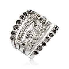 .30 ct. t.w. Black and White Diamond Set of Five Stacking Rings In Sterling Silver $285