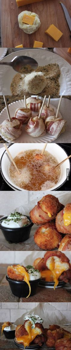 Funny pictures about Mashed Potato Bacon Balls Heaven. Oh, and cool pics about Mashed Potato Bacon Balls Heaven. Also, Mashed Potato Bacon Balls Heaven photos. I Love Food, Good Food, Yummy Food, Bacon Bombs, Cheese Bombs, Do It Yourself Food, Lard, Appetizer Recipes, Appetizers