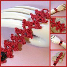 Crochet Lace Cuff Bracelet Romantic Red Fiber Art by KnittingGuru