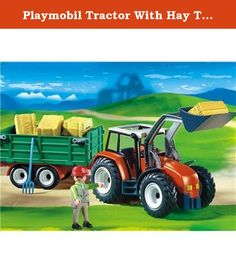 Playmobil Tractor With Hay Trailer. The farmer is on his way to one of his fields with his tractor and trailer. Today he will take in the straw that he cut the day before. When he arrives at the edge of the field he puts the trailer up on its practical support wheel. Then he starts working. With the shovel of his powerful front loader he loads one bale of straw after the other onto the large loading bay. As the loading bay of the trailer can be tilted, unloading them later at the farm is...