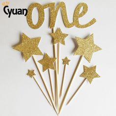Cyuan 8 pcs Um Ouro Estrela Topper Do Bolo Do Chuveiro Do Bebê primeiro Ano Menina/Menino Festa de Aniversário Cupcake Decoração primeiro Fontes Do Partido de aniversário