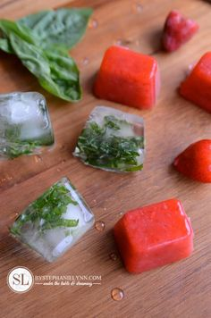 Love making different types of ice cubes, and these sound delicious.  Strawberry Basil Infused Water Recipe Ice Cube Recipe, Yummy Drinks, Cold Drinks, Healthy Drinks, Summer Beverages, Smoothie Drinks, Smoothies, Fruit Water, Fruit Infused Water