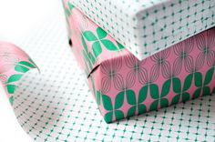 Double Sided Wrapping Paper pink and green print