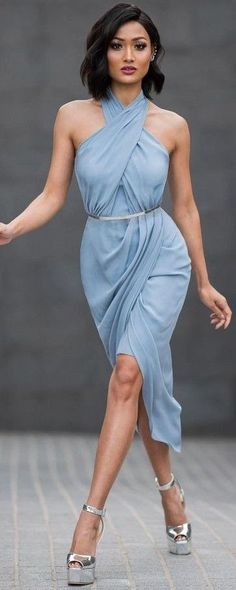 #Street #Fashion | Baby Blue Silk Dress + Silver Platform Sandals | Micah Gianneli                                                                             Source