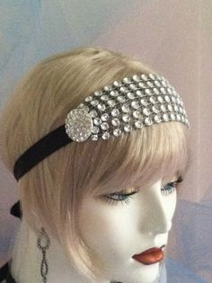 1920's Headpiece, Flapper Headband, Gatsby, Old Hollywood, Vintage, Black, Silver, Crystal,  bridesmaids, no. 63