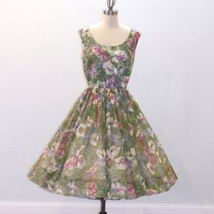50s Dress / 1960s Dress Floral Hibiscus Organza by daisyandstella, $60.00