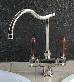 Herbeau 42056358 Polished Copper Brass/Wood Valence VALENCE KITCHEN FAUCET Single Hole Mixer - Touch On Kitchen Sink Faucets - Amazon.com