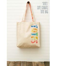 "Tutorial: ""Totes"" appliqued tote bag April 14, by Anne Weaver."