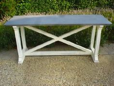 'X' Base Desk orTable with Zinc Top Made to Order, Custom Sizes Available Please Call For Availability and Lead Times